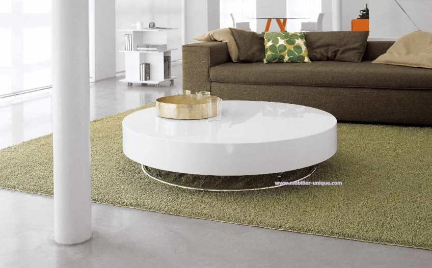 Table basse blanc laquee pas cher maison design for Table de salon ronde design
